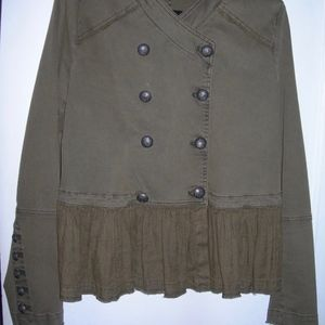 FREE PEOPLE ARMY GREEN MILITARY STYLE JKT. SZ. L